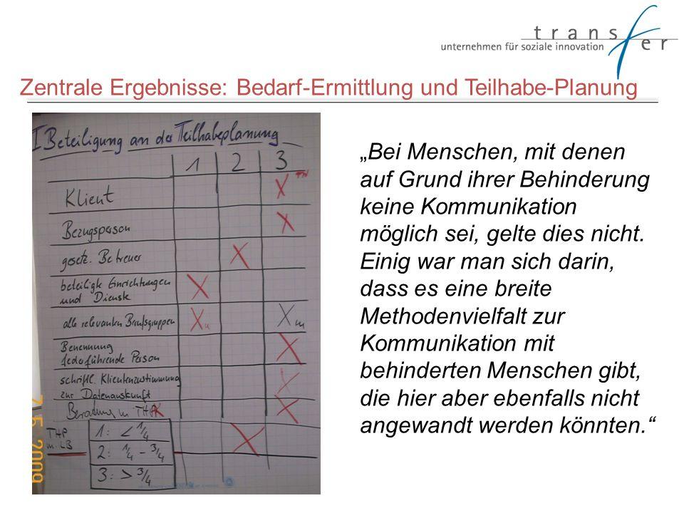 Zentrale Ergebnisse: Bedarf-Ermittlung und Teilhabe-Planung