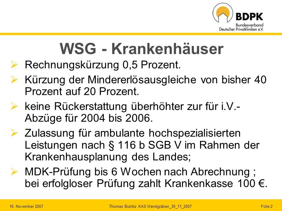WSG - Krankenhäuser Rechnungskürzung 0,5 Prozent.