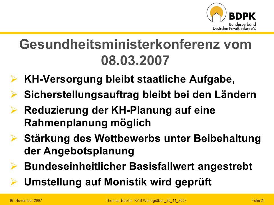 Gesundheitsministerkonferenz vom 08.03.2007