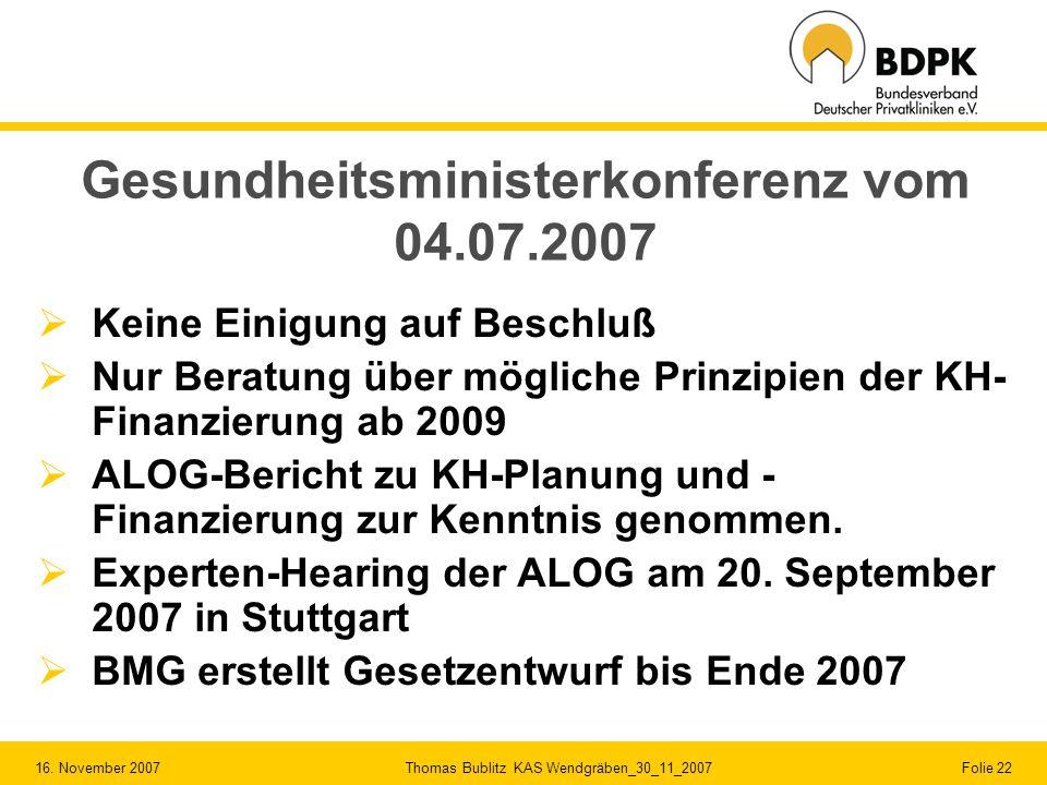 Gesundheitsministerkonferenz vom 04.07.2007