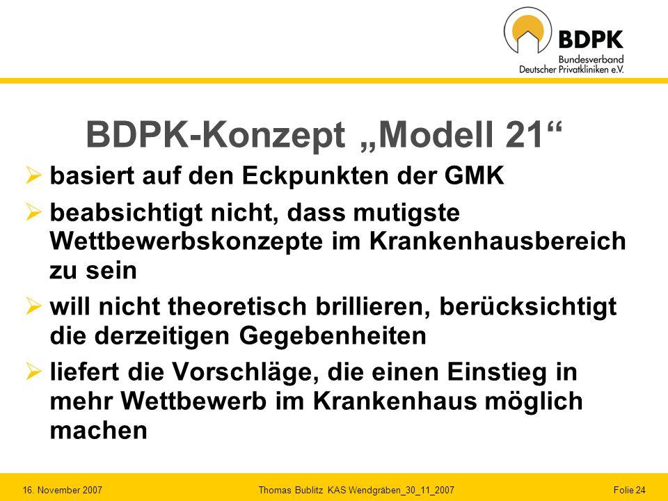 """BDPK-Konzept """"Modell 21"""