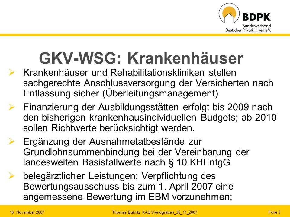 GKV-WSG: Krankenhäuser