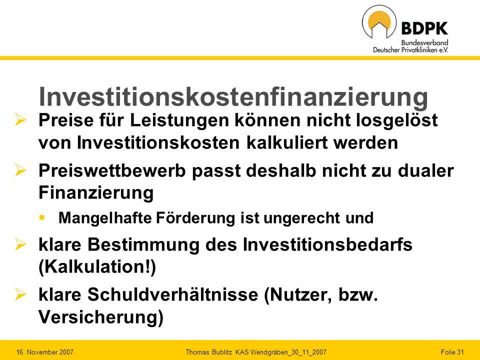 Investitionskostenfinanzierung