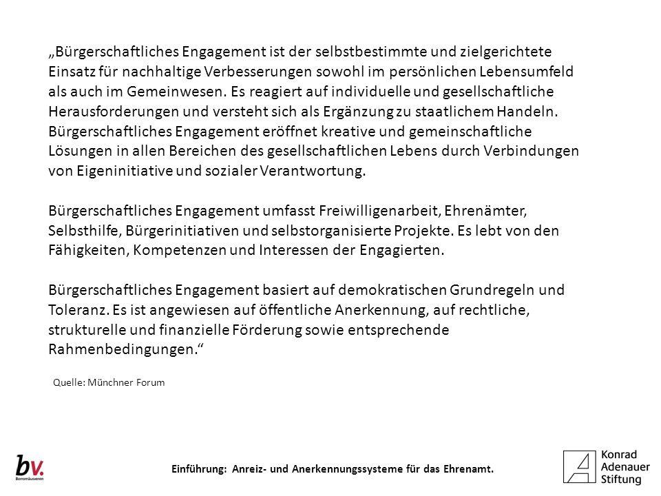 Einführung: Anreiz- und Anerkennungssysteme für das Ehrenamt.