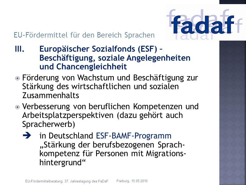 EU-Fördermittel für den Bereich Sprachen