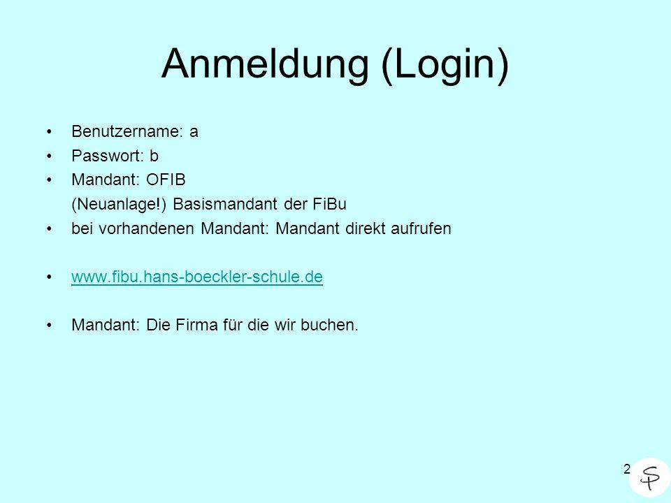 Anmeldung (Login) Benutzername: a Passwort: b Mandant: OFIB