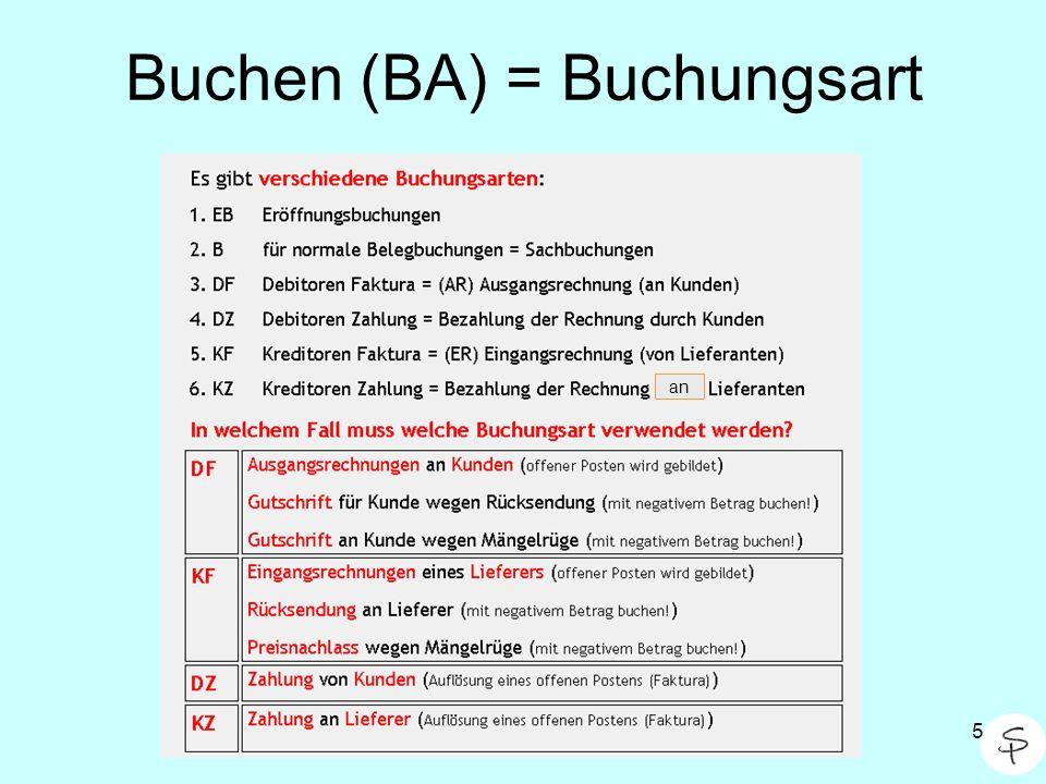Buchen (BA) = Buchungsart