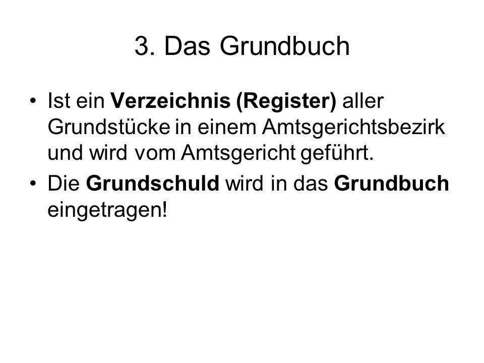 3. Das Grundbuch Ist ein Verzeichnis (Register) aller Grundstücke in einem Amtsgerichtsbezirk und wird vom Amtsgericht geführt.