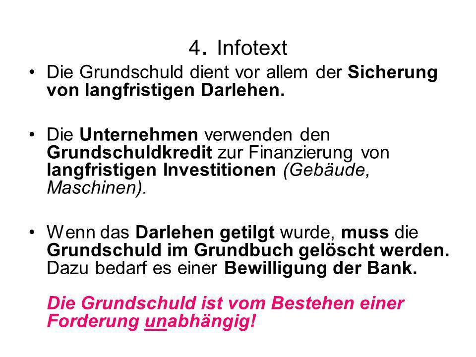 4. Infotext Die Grundschuld dient vor allem der Sicherung von langfristigen Darlehen.