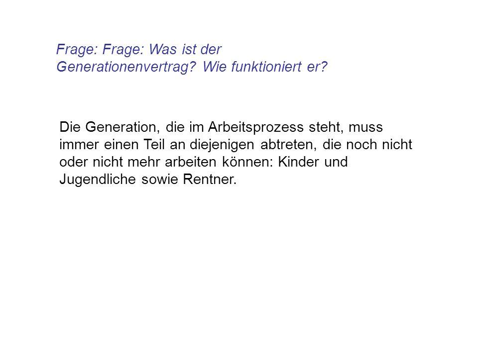Frage: Frage: Was ist der Generationenvertrag Wie funktioniert er