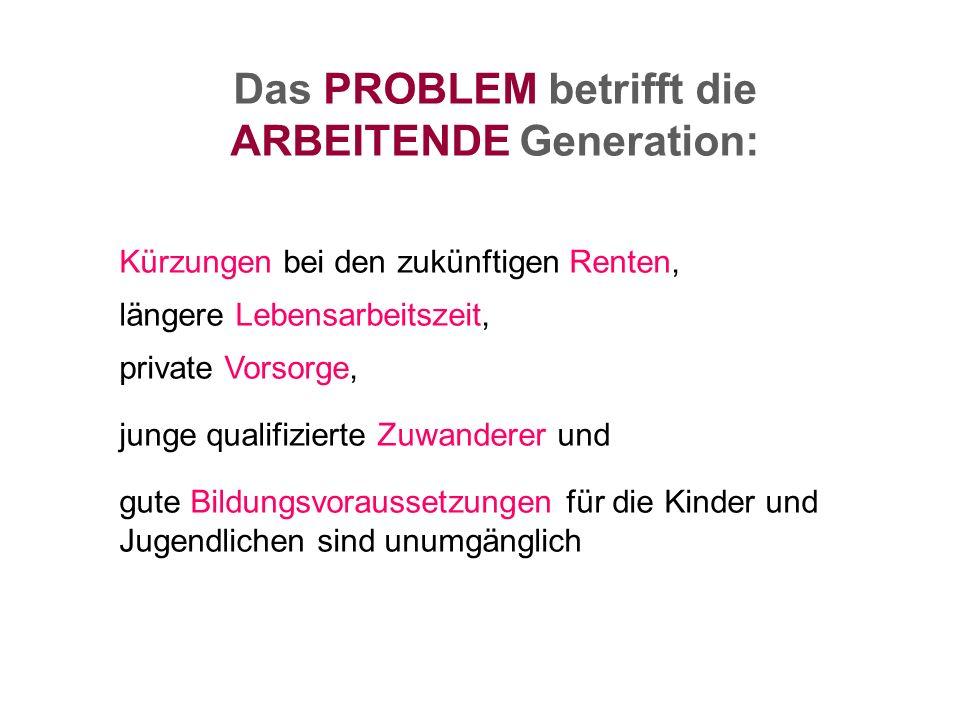 Das PROBLEM betrifft die ARBEITENDE Generation: