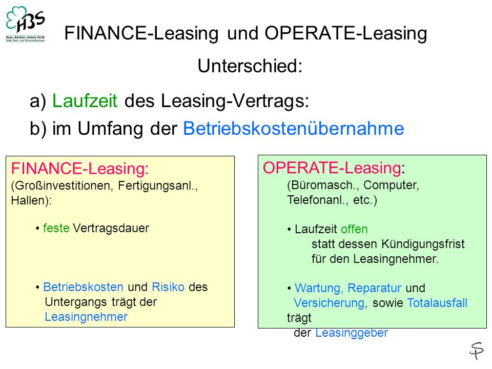 FINANCE-Leasing und OPERATE-Leasing Unterschied: