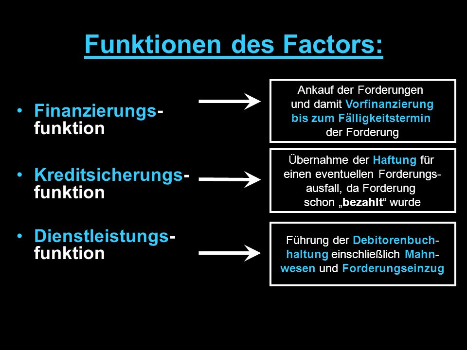 Funktionen des Factors: