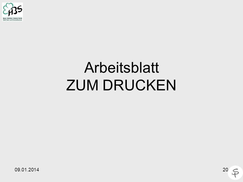 Arbeitsblatt ZUM DRUCKEN