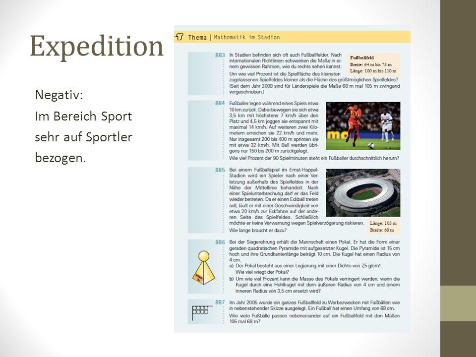 Expedition Negativ: Im Bereich Sport sehr auf Sportler bezogen.