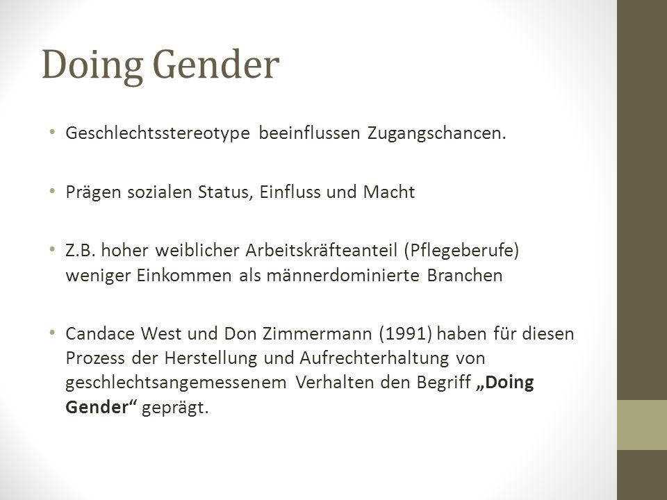 Doing Gender Geschlechtsstereotype beeinflussen Zugangschancen.