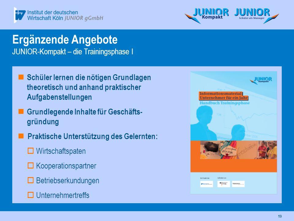 Ergänzende Angebote JUNIOR-Kompakt – die Trainingsphase I