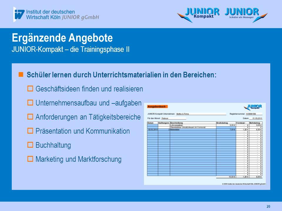 Ergänzende Angebote JUNIOR-Kompakt – die Trainingsphase II