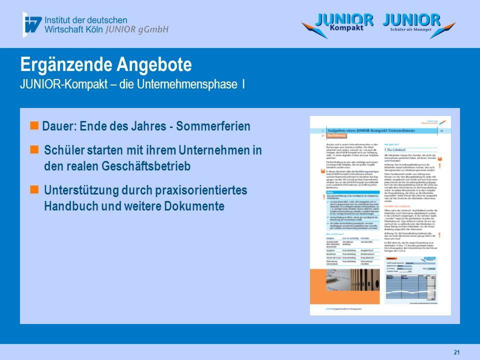 Ergänzende Angebote JUNIOR-Kompakt – die Unternehmensphase I