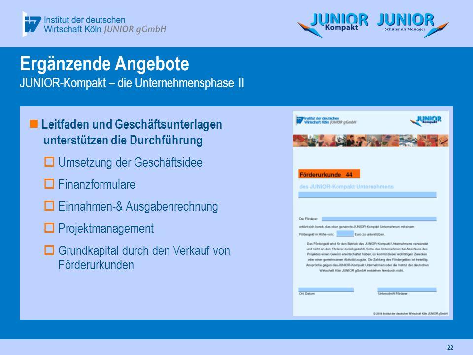 Ergänzende Angebote JUNIOR-Kompakt – die Unternehmensphase II