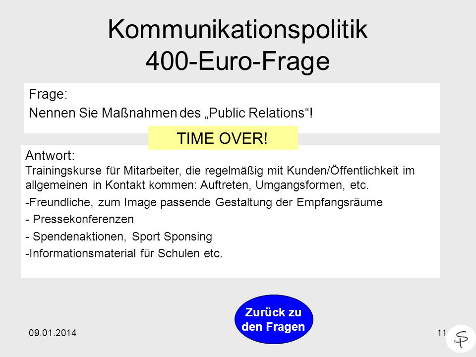 Kommunikationspolitik 400-Euro-Frage