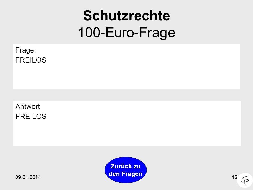 Schutzrechte 100-Euro-Frage
