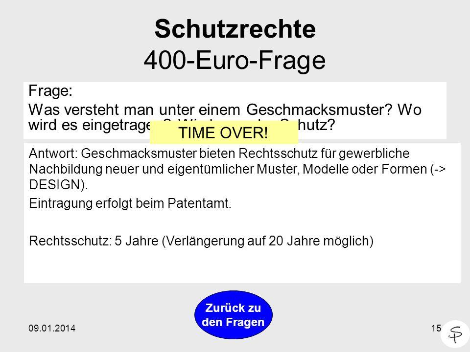 Schutzrechte 400-Euro-Frage