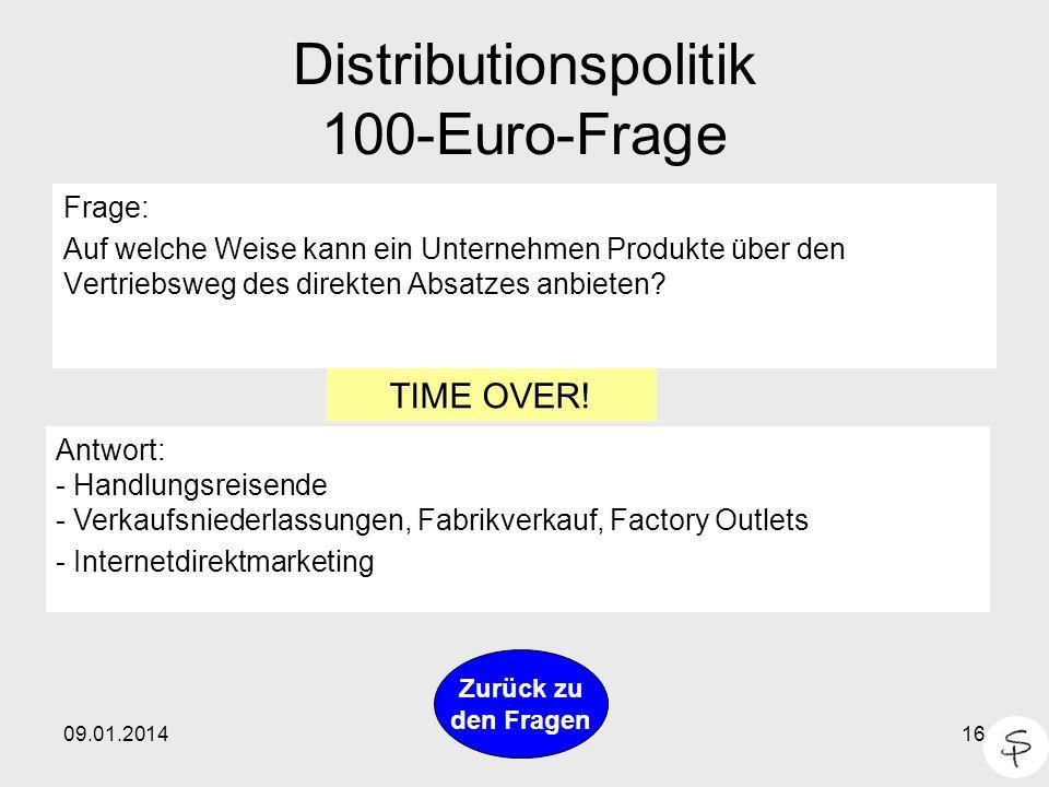 Distributionspolitik 100-Euro-Frage
