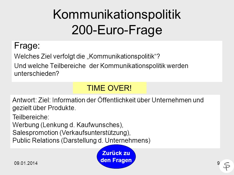 Kommunikationspolitik 200-Euro-Frage