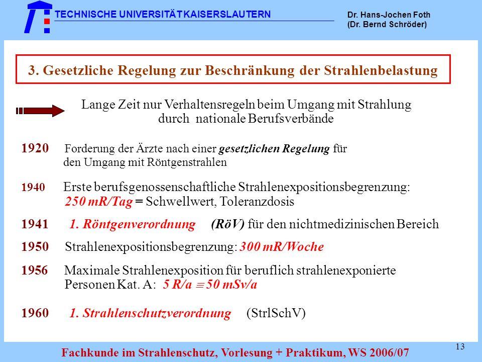 3. Gesetzliche Regelung zur Beschränkung der Strahlenbelastung