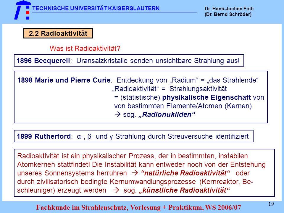 1896 Becquerell: Uransalzkristalle senden unsichtbare Strahlung aus!