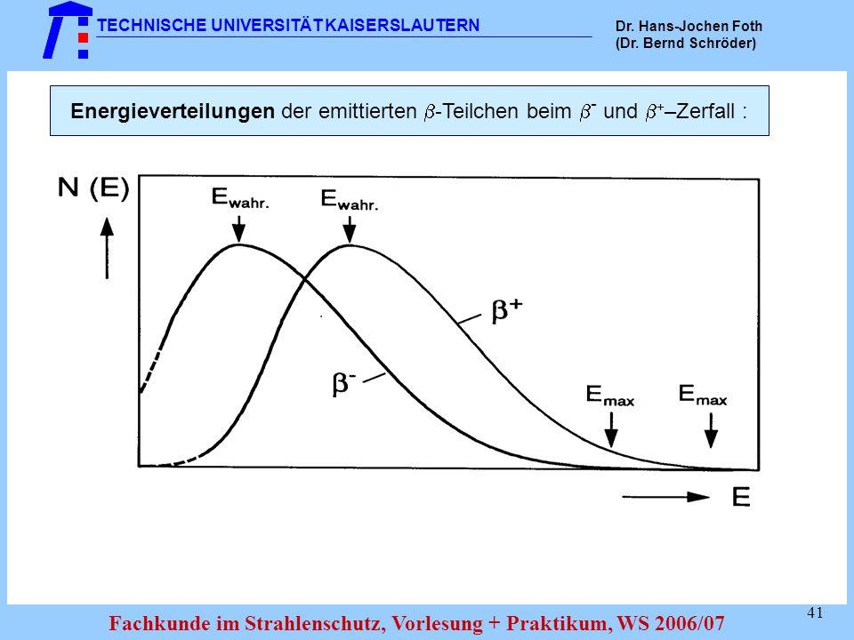 Energieverteilungen der emittierten -Teilchen beim - und +–Zerfall :