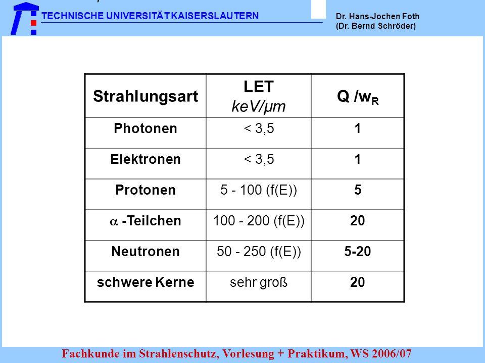 Strahlungsart LET Q /wR