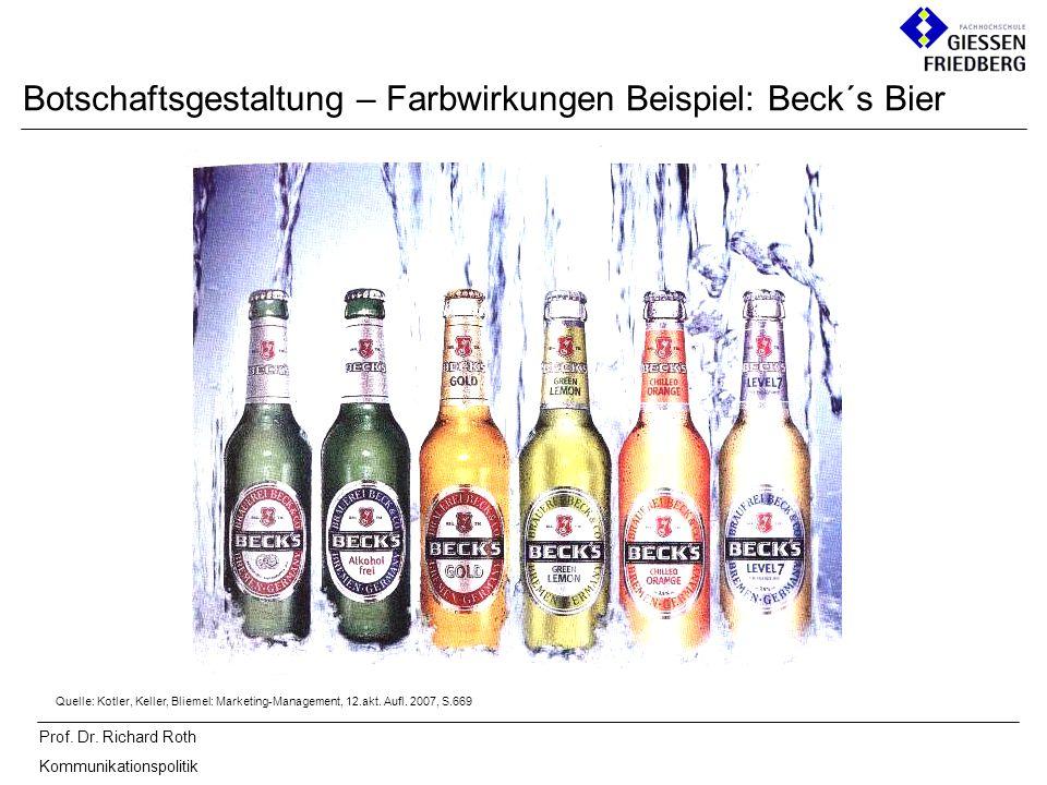 Botschaftsgestaltung – Farbwirkungen Beispiel: Beck´s Bier