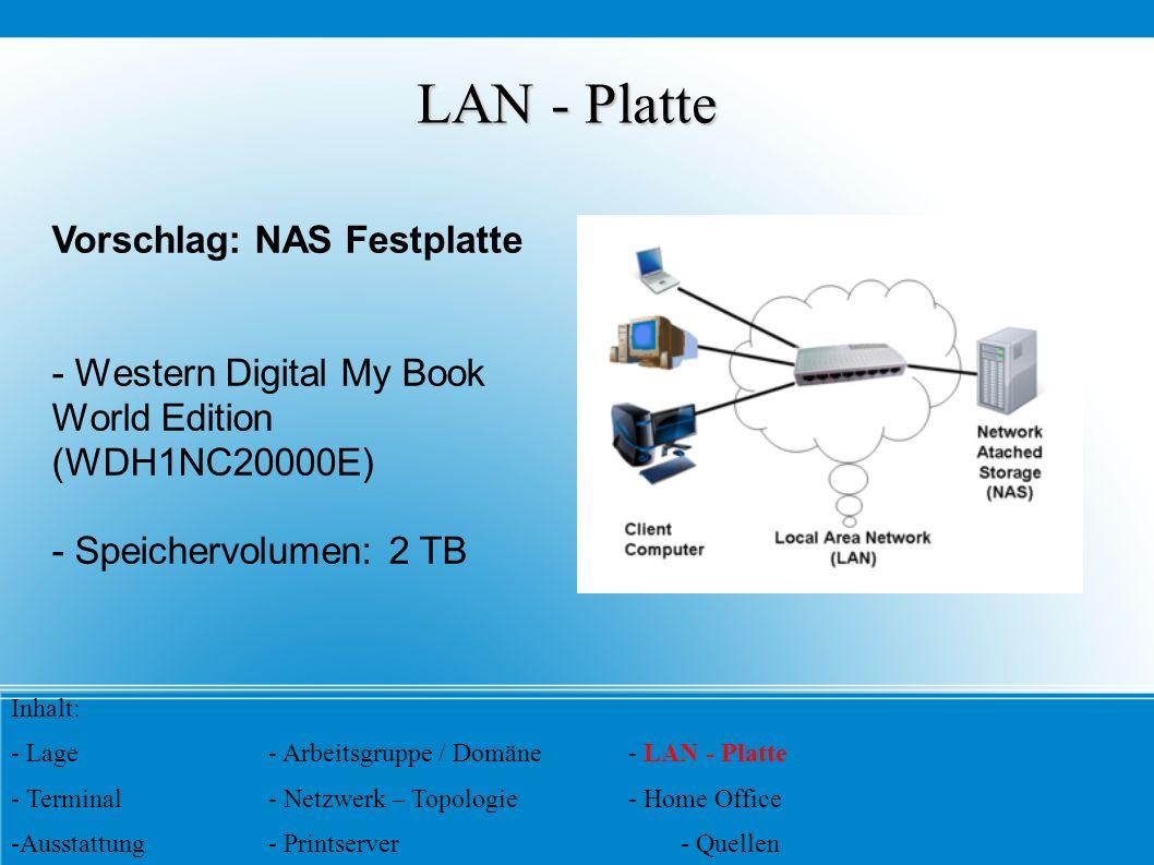 LAN - Platte Vorschlag: NAS Festplatte
