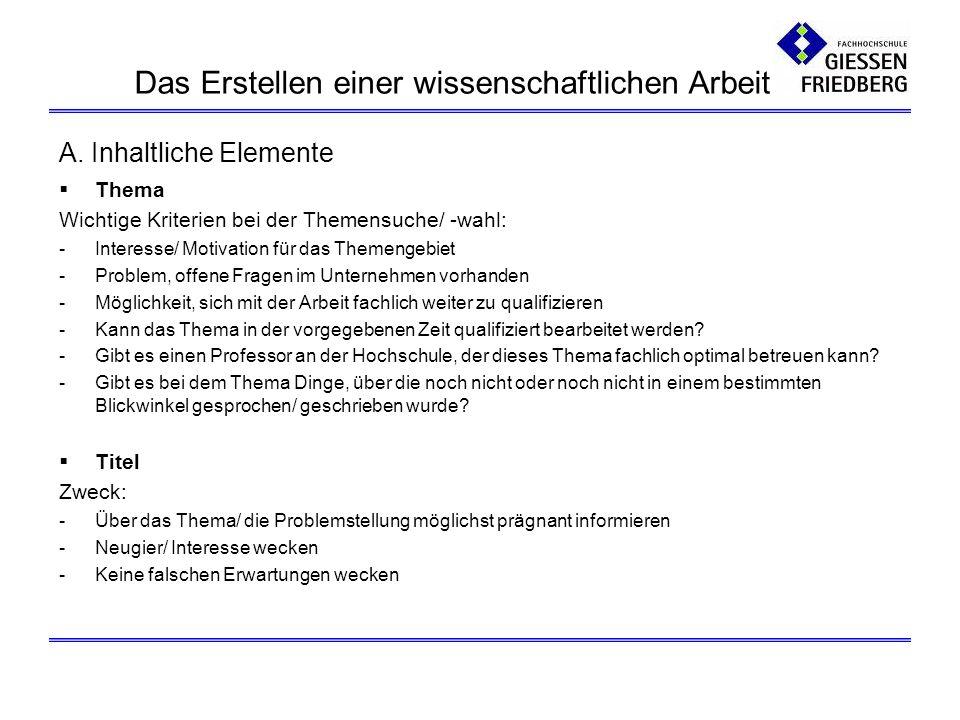 A. Inhaltliche Elemente