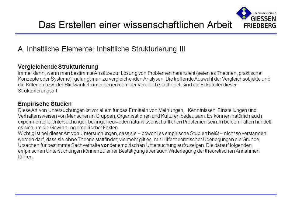 A. Inhaltliche Elemente: Inhaltliche Strukturierung III