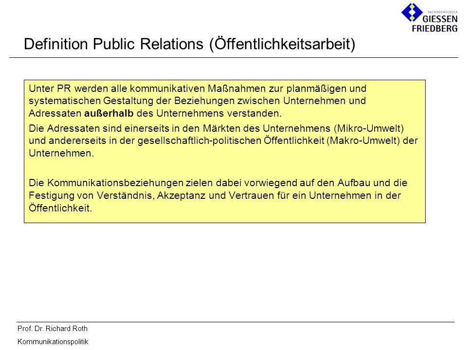 Definition Public Relations (Öffentlichkeitsarbeit)