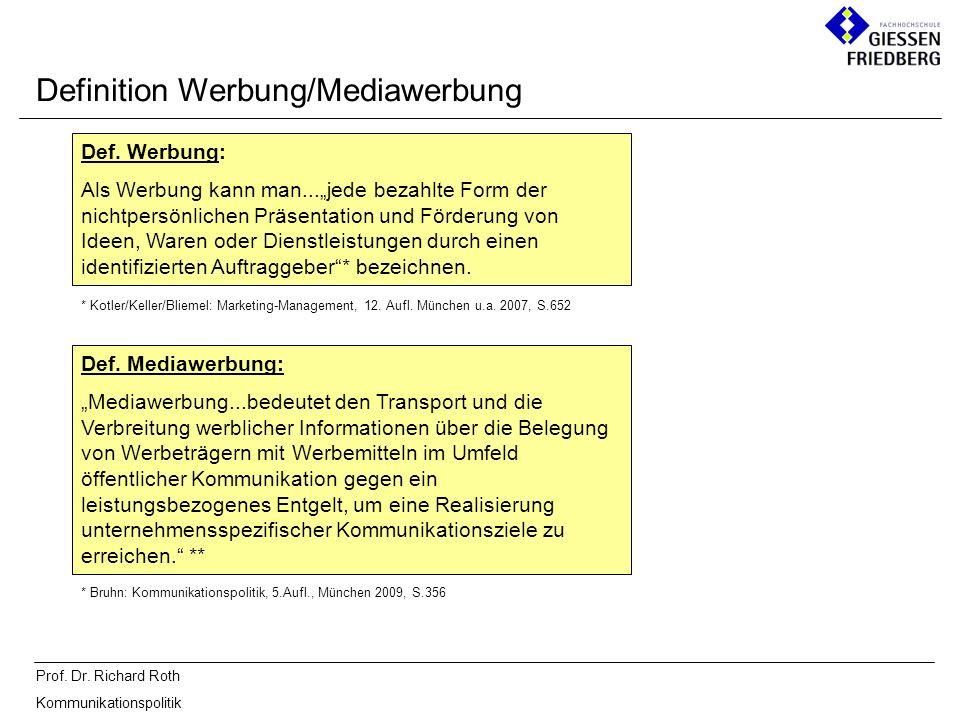 Definition Werbung/Mediawerbung