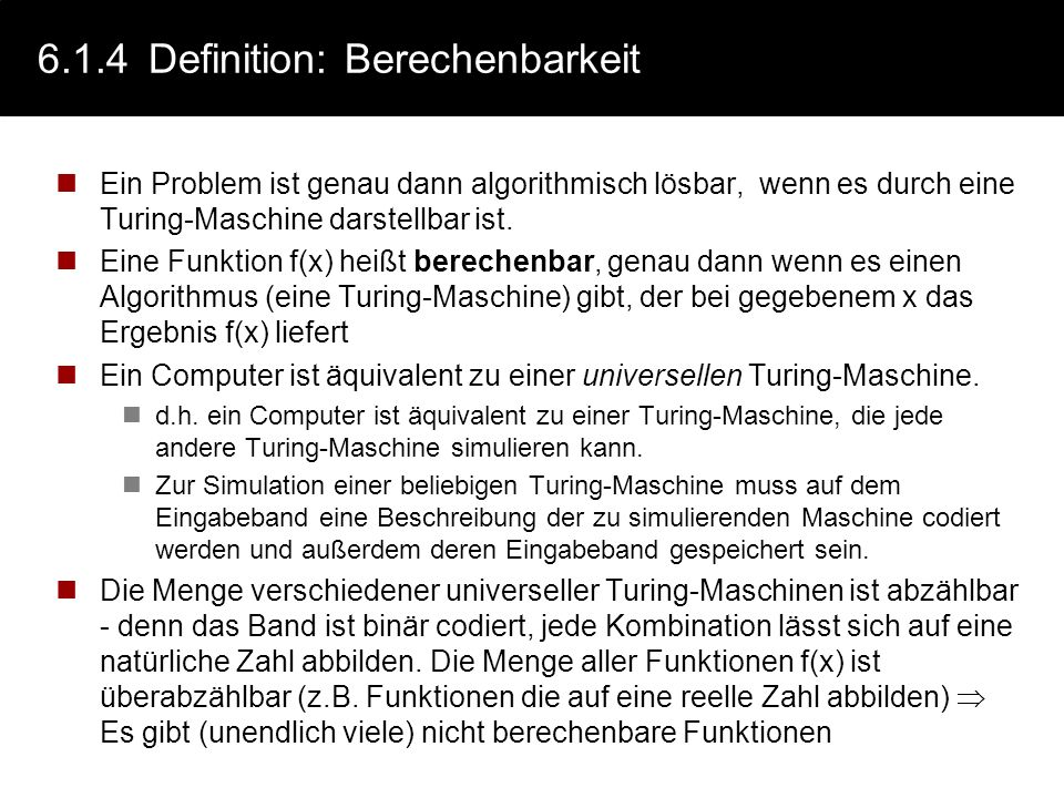 6.1.4 Definition: Berechenbarkeit