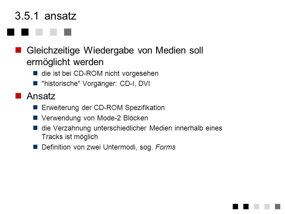 3.5.1 ansatz Gleichzeitige Wiedergabe von Medien soll ermöglicht werden. die ist bei CD-ROM nicht vorgesehen.
