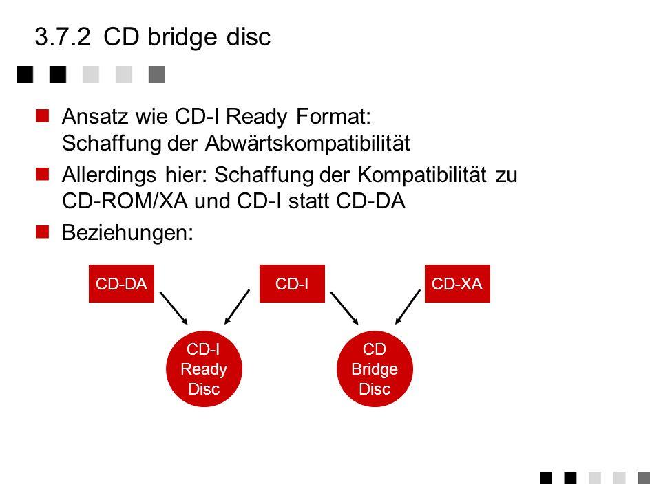 3.7.2 CD bridge disc Ansatz wie CD-I Ready Format: Schaffung der Abwärtskompatibilität.