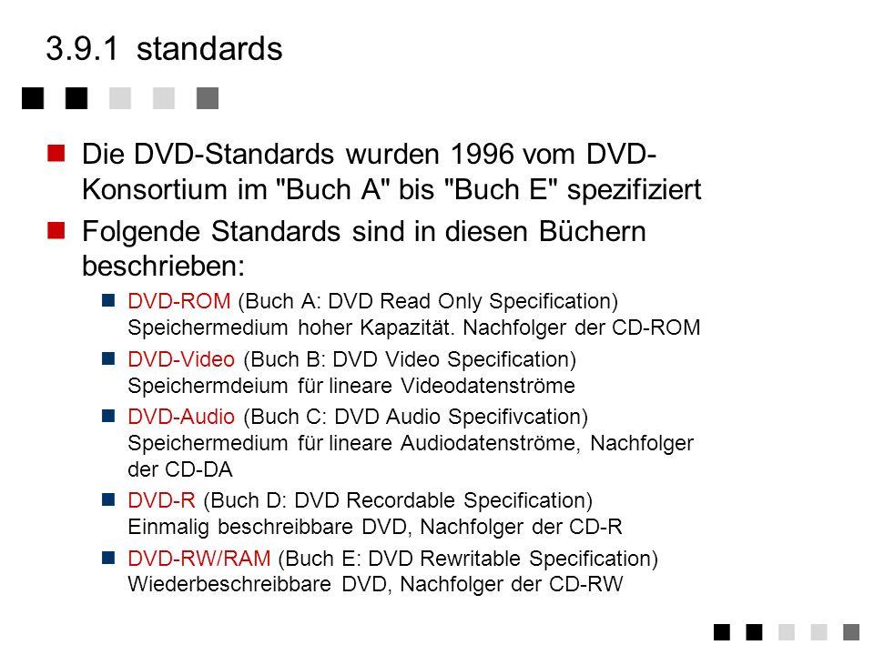 3.9.1 standards Die DVD-Standards wurden 1996 vom DVD-Konsortium im Buch A bis Buch E spezifiziert.