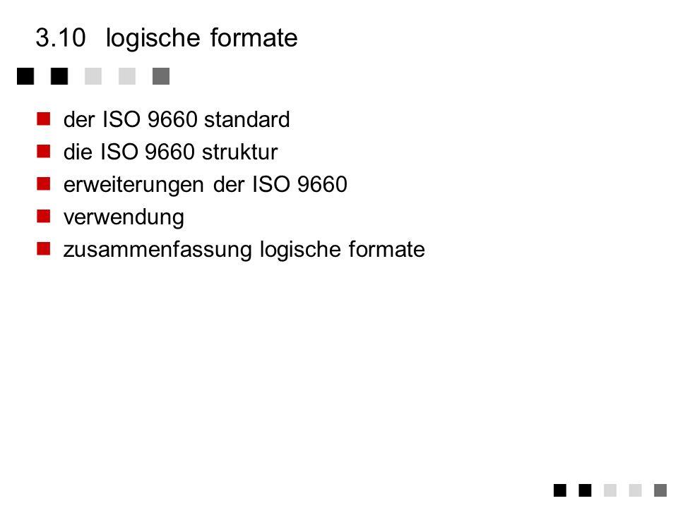 3.10 logische formate der ISO 9660 standard die ISO 9660 struktur