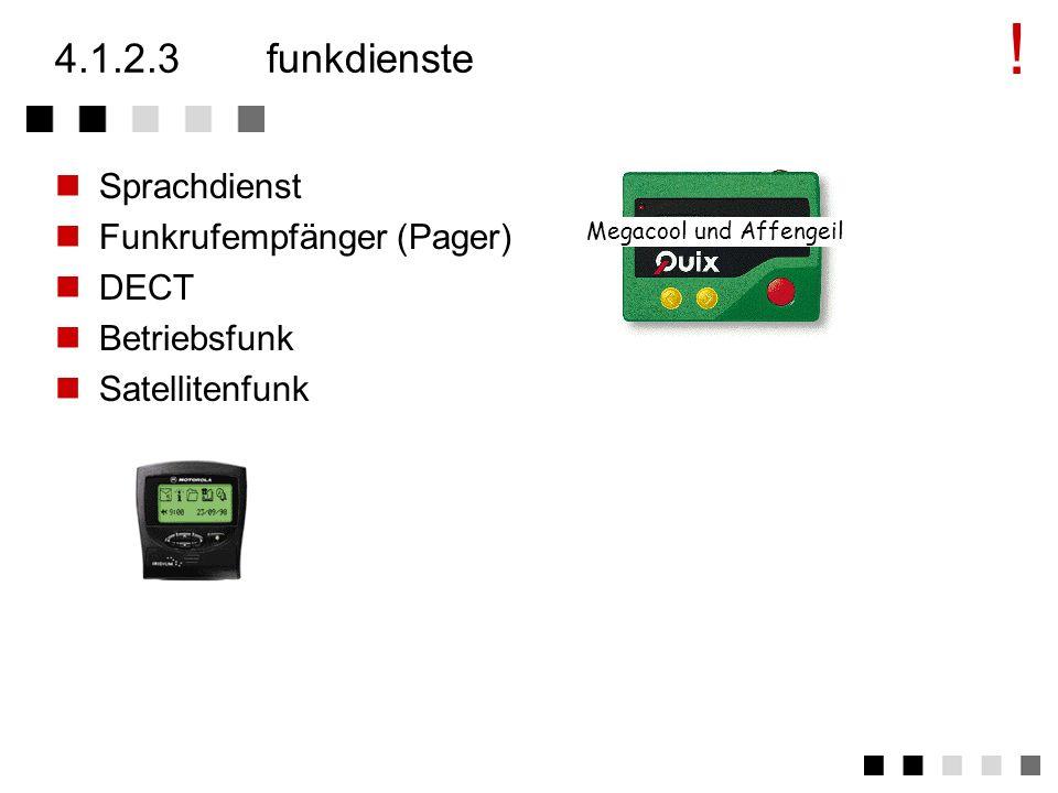 ! 4.1.2.3 funkdienste Sprachdienst Funkrufempfänger (Pager) DECT