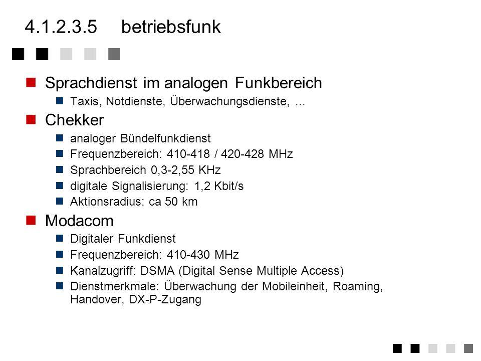 4.1.2.3.5 betriebsfunk Sprachdienst im analogen Funkbereich Chekker