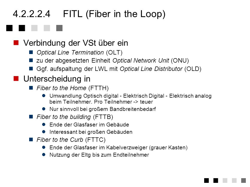 4.2.2.2.4 FITL (Fiber in the Loop)
