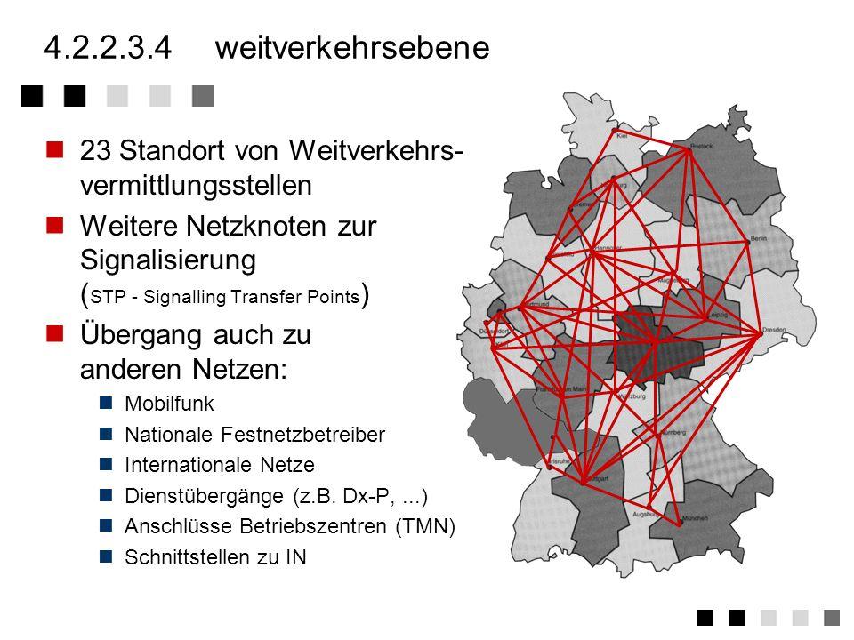 4.2.2.3.4 weitverkehrsebene 23 Standort von Weitverkehrs- vermittlungsstellen.