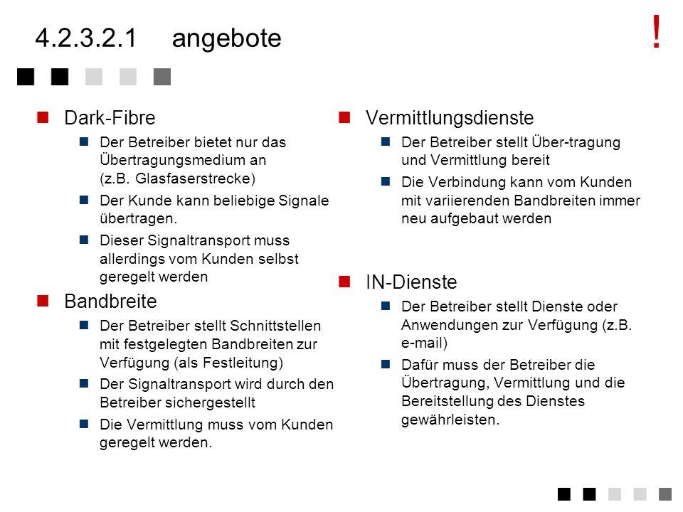 ! 4.2.3.2.1 angebote Dark-Fibre Bandbreite Vermittlungsdienste