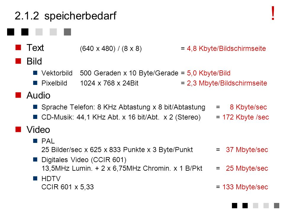 ! 2.1.2 speicherbedarf. Text (640 x 480) / (8 x 8) = 4,8 Kbyte/Bildschirmseite. Bild. Vektorbild 500 Geraden x 10 Byte/Gerade = 5,0 Kbyte/Bild.